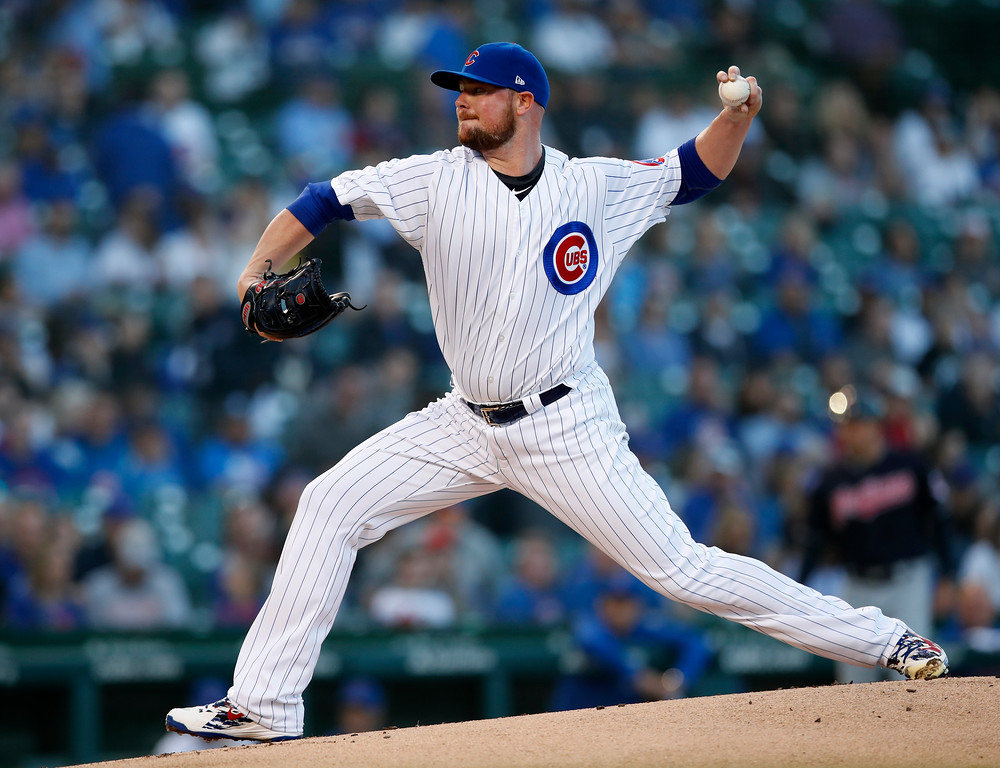 . Chicago Cubs\' Jon Lester pitches during the first inning of a baseball game against the Cleveland Indians on Wednesday, May 23, 2018, in Chicago. (AP Photo/Jim Young)