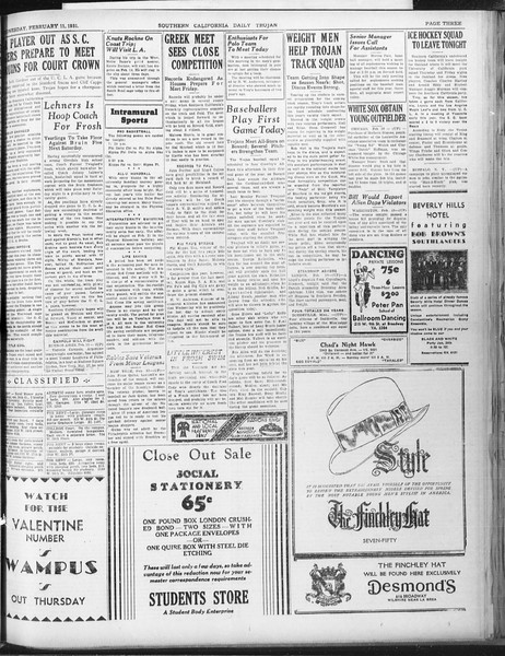 Daily Trojan, Vol. 22, No. 85, February 11, 1931