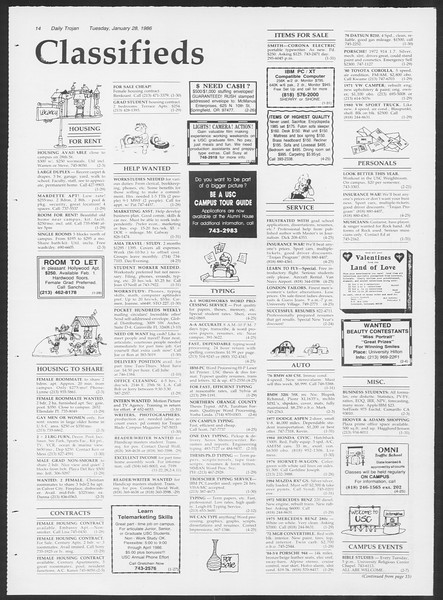 Daily Trojan, Vol. 100, No. 13, January 28, 1986