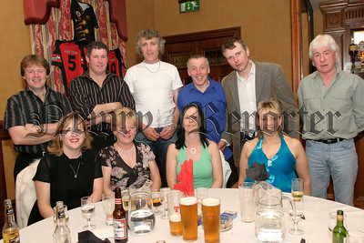 Members of the Down Masters Football Team with their partners at their function in the Canal Court Hotel, Paul & Shirley Burden, Emma & Eamon O'Rourke, Gerard & Linda Mc Avoy, Jim & Maureen Murnin, John Farrell and Colm Rogers. 05W13N66.