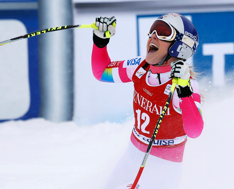 . Lindsey Vonn of United States, reacts in the finish area following her run in the women\'s World Cup downhill ski race in Lake Louise, Alberta, Saturday, Dec. 6, 2014. (AP Photo/The Canadian Press, Jeff McIntosh)
