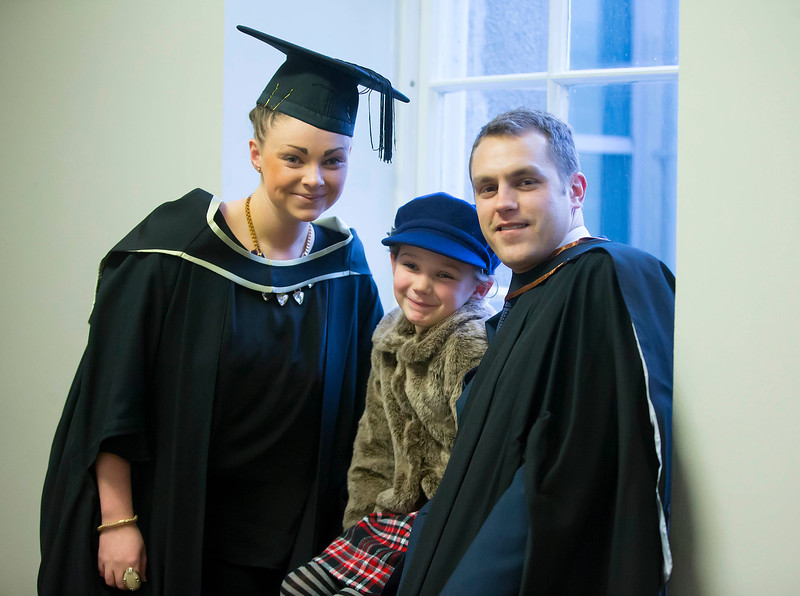 Waterford Institute Of Technology Conferring. Pictured at WIT Waterford Institute Of Technology Conferring are Tara O'Toole, Casey O'Toole aged 7 and Sean Woodward. Picture: Patrick Browne