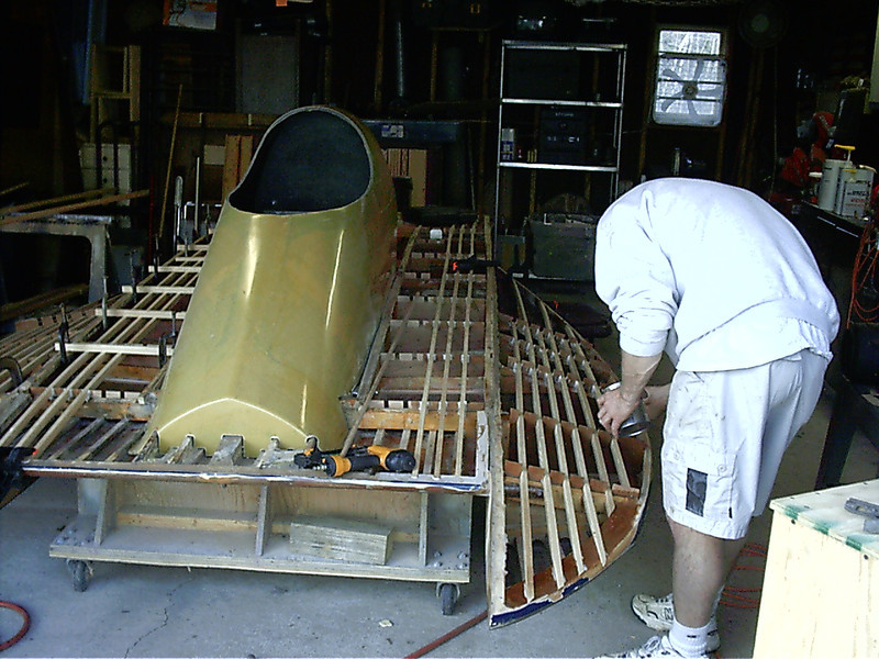 Installing port deck and sponson battens.