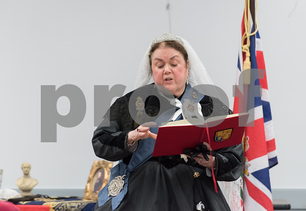 11/8/17 Wesley Bunnell | Staff Set in 1879 Sally Mummey performed as Queen Victoria, Queen of Great Britain and Empress of India at the Berlin-Peck Library on Thursday afternoon. Queen Victoria reads from one of her diaries which totaled 122 volumes upon her death equaling 2,500 words a day.