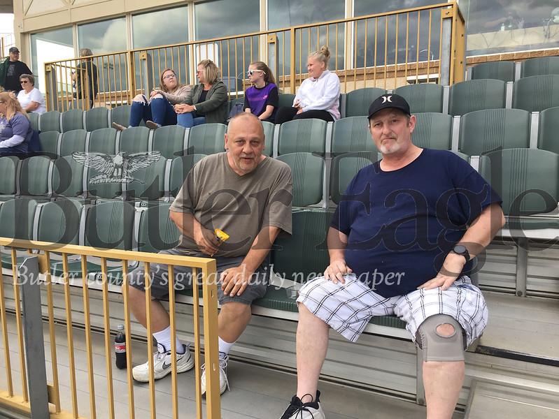Cutline: Baseball fans Randy Anthony, left, and Rick Coddington await the start of a recent game at Pullman Park.Derek Pyda photo  0619_spo_pullman6