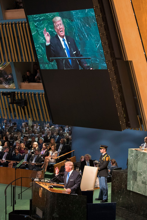 . American President Donald Trump speaks during the 72nd session of the United Nations General Assembly at U.N. headquarters, Tuesday, Sept. 19, 2017. (AP Photo/Mary Altaffer)