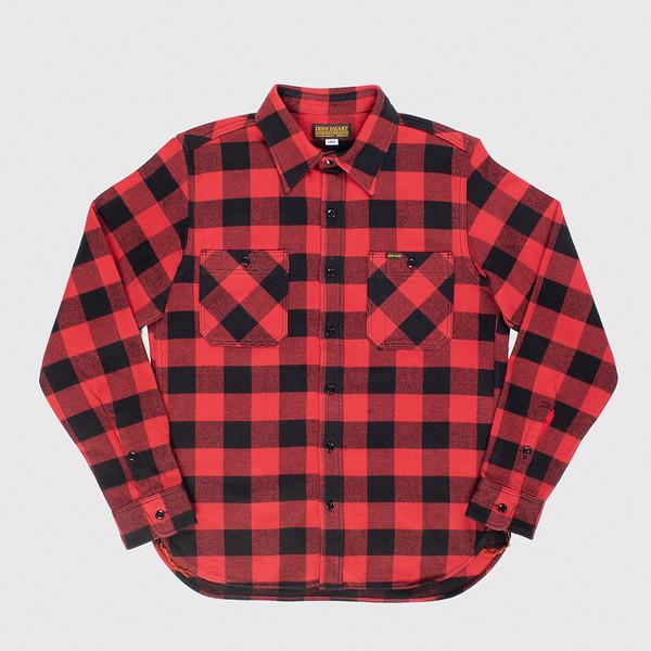 Ultra Heavy Flannel Buffalo Check Work Shirt - Red-Black--3.jpg