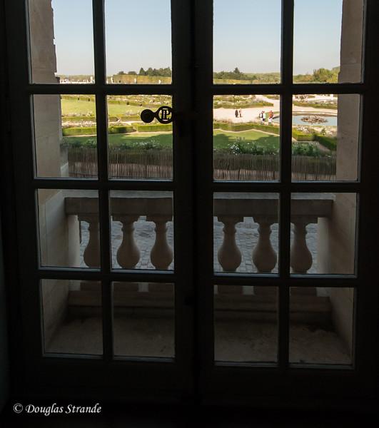 Inside the Chateu Versailles: view of a garden