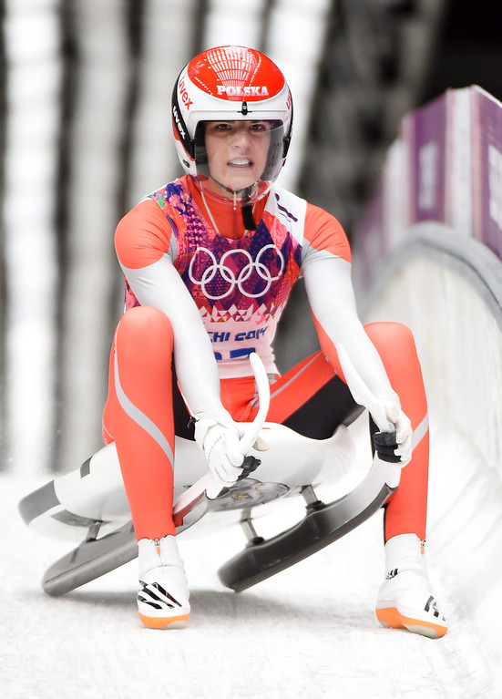 . Ewa Kuls of Poland in the finish area during the Women\'s Singles Luge first run at the Sanki Sliding Center at the Sochi 2014 Olympic Games, Krasnaya Polyana, Russia, 10 February 2014.  EPA/TOBIAS HASE