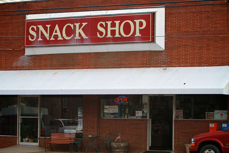 Photos of notable places in Boiling Springs and Shelby near Gardner-Webb University.  Snak Shop