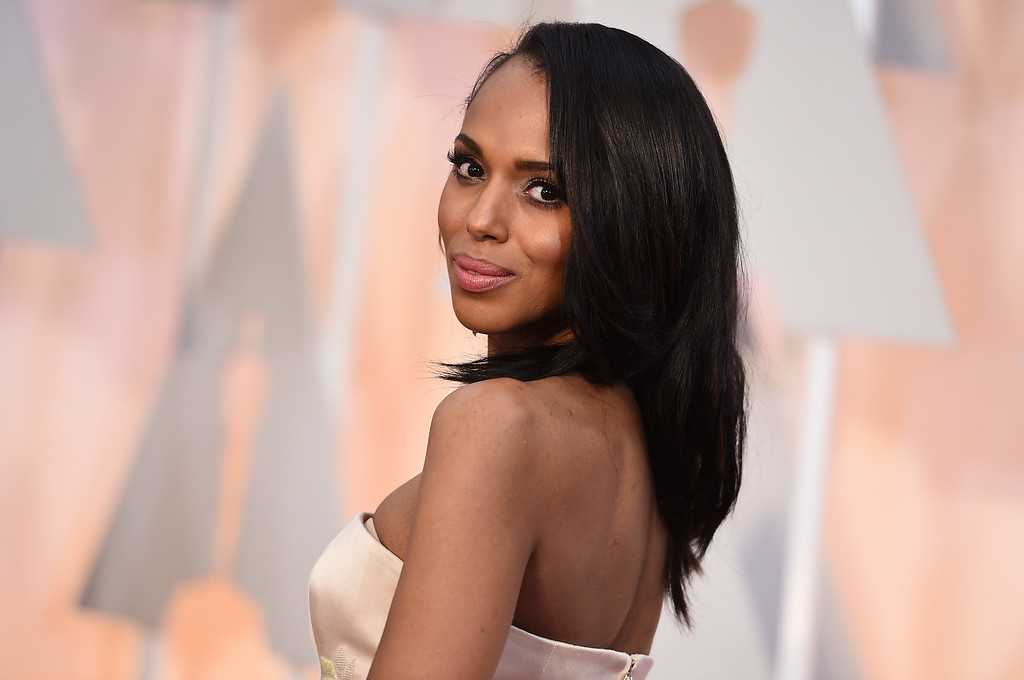 . Kerry Washington arrives at the Oscars on Sunday, Feb. 22, 2015, at the Dolby Theatre in Los Angeles. (Photo by Jordan Strauss/Invision/AP)