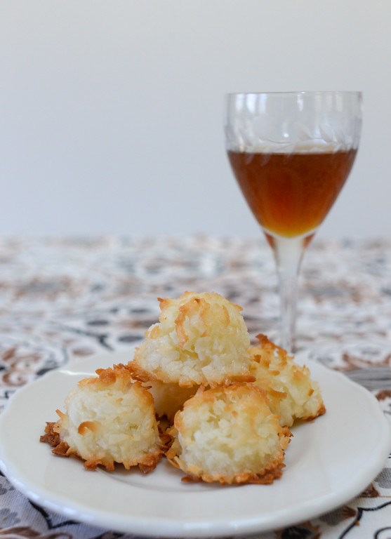 coconut macaroons and a glass of liqueur