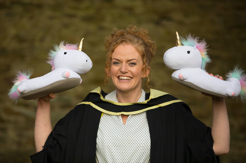 02/11/2016. Waterford Institute of Technology (WIT) Conferring Ceremonies November 2016:  Pictured is Aishling O'Toole from Carlow who graduated with an MA in Teaching and Learning in Further and Higher Education with her graduation gift Unicorn Slippers. Picture: Patrick Browne