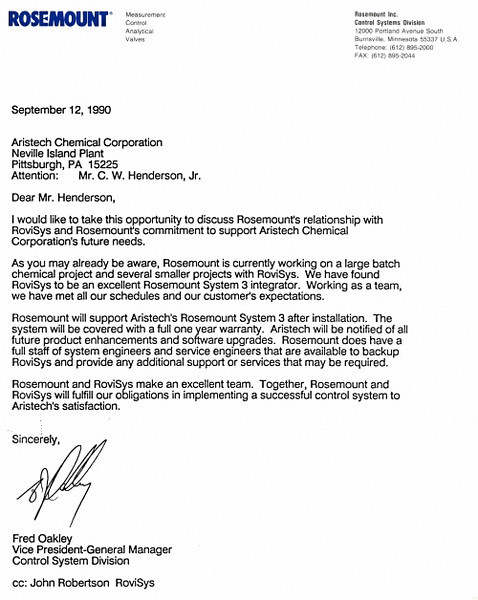 Rosemount endorsement letter for Aristech project