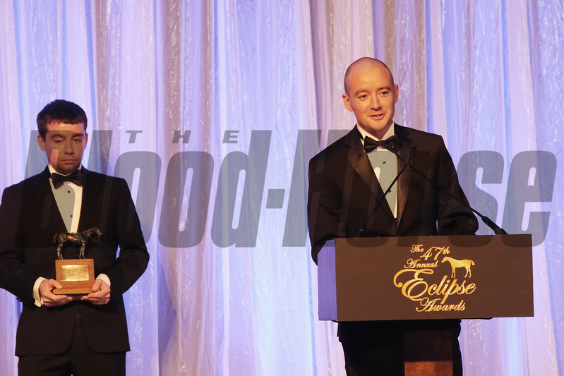 Bernard at podium and Eamonn Cleary accept the Eclipse Award for Outstanding Breeder, 2018 Eclipse Awards, Gulfstream Park
