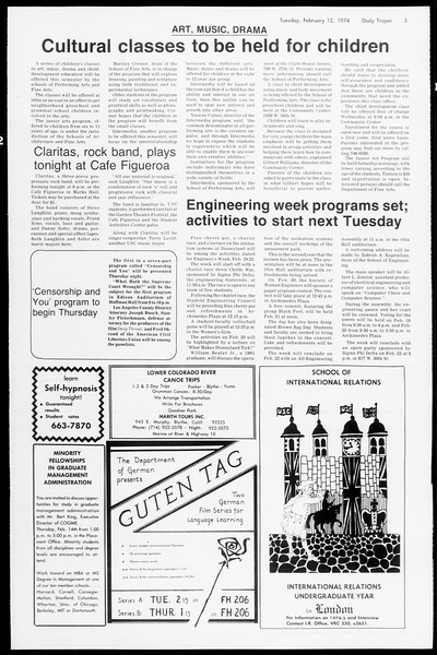 Daily Trojan, Vol. 66, No. 70, February 12, 1974