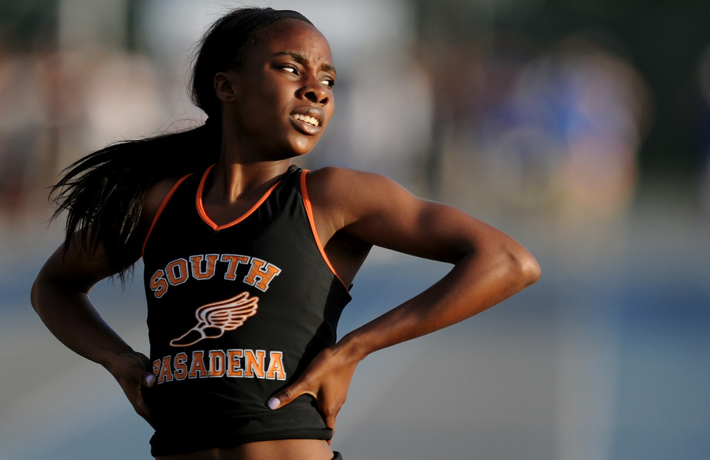 . South Pasadena\'s Laura Anuakpado after the 400 meter dash during the CIF-SS Masters Meet at Cerritos College on Friday, May 24, 2013 in Norwalk, Calif.  (Keith Birmingham Pasadena Star-News)