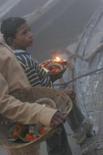 Morning ceremony at Ganga river, Benares, Varanasi, India