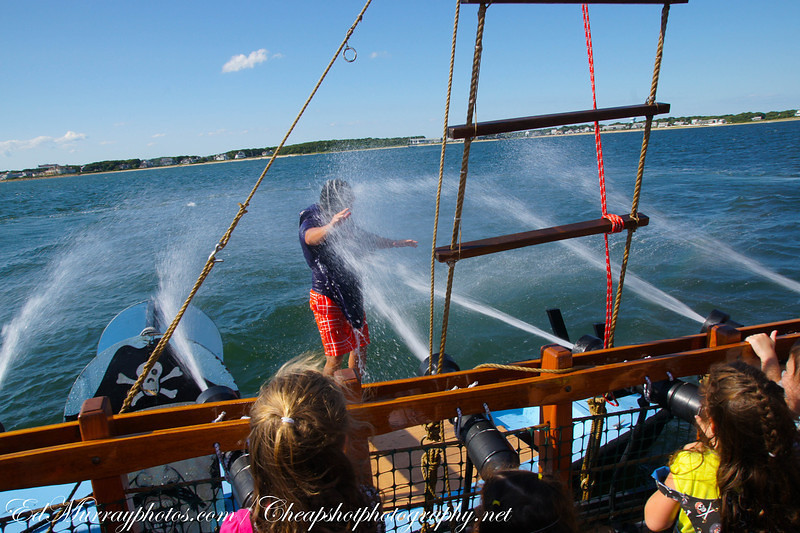 Water cannons: We took the kids out on a pirate adventure aboard a pirate ship. Here, the kids are attacking an enemy combatant with their starboard side water cannons.
