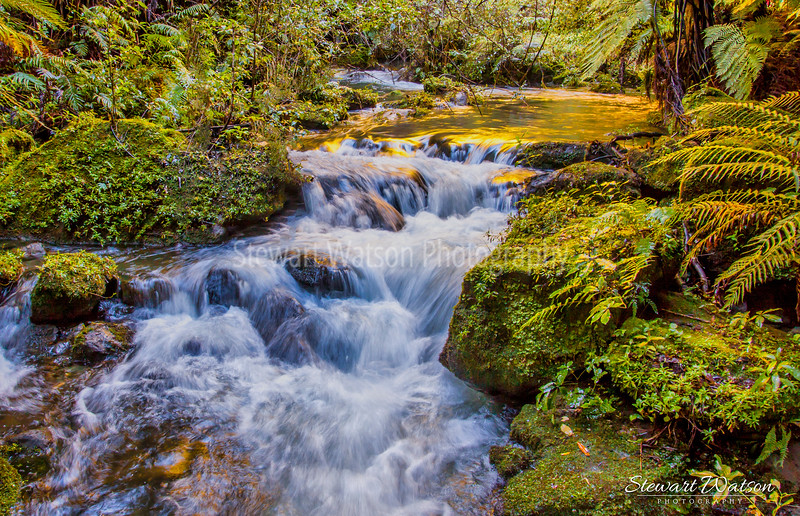 Golden waterfall scene