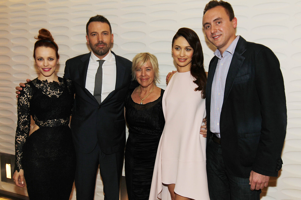 ". From left, Rachel McAdams, Ben Affleck, Sarah Green, Olga Kurylenko, and Nicolas Gonda pose together at the premiere of ""To The Wonder\"" hosted by FIJI Water on Tuesday, April 9, 2013 in Los Angeles. (Photo by Matt Sayles/Invision for Fiji Water/AP Images)"