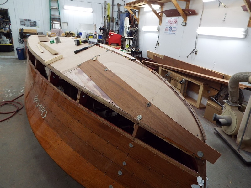 Second layer of bottom on the port side being fit.