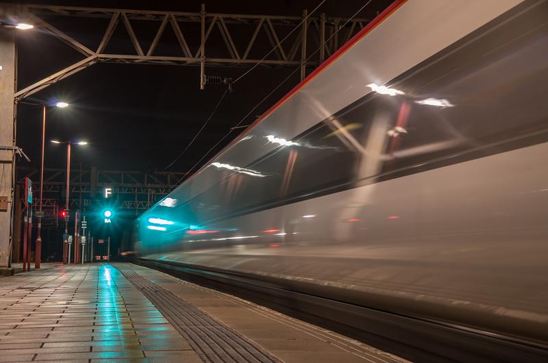 Virgin Trains Pendolino departs Stafford