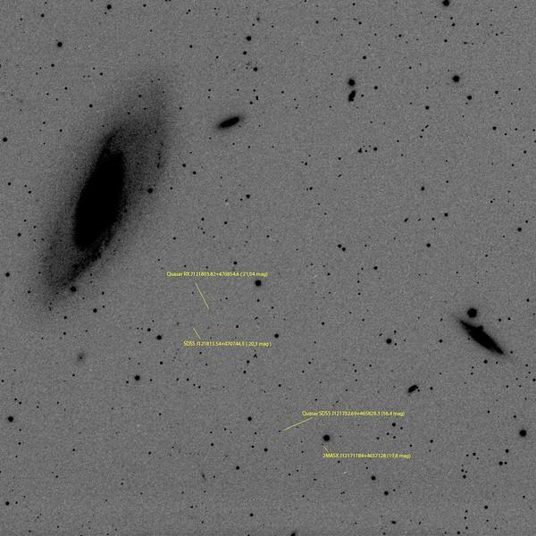Quasars next to M106