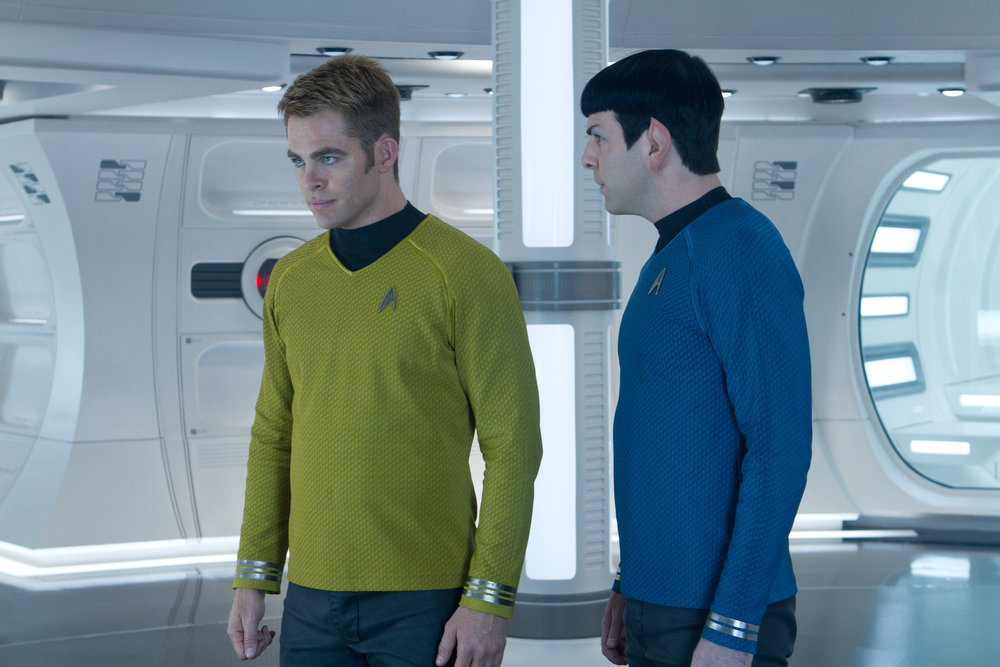 . (Left to right) Chris Pine is Kirk and Zachary Quinto is Spock in STAR TREK INTO DARKNESS, from Paramount Pictures and Skydance Productions.   (Photo by Zade Rosenthal)