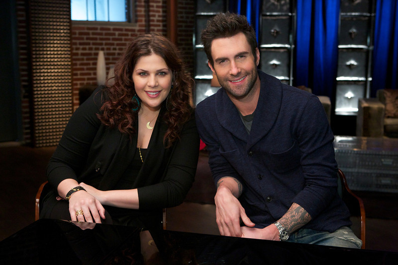 ". THE VOICE -- ""Adam Reality\"" -- Pictured: (l-r) Hillary Scott, Adam Levine -- (Photo by: Tyler Golden/NBC)"