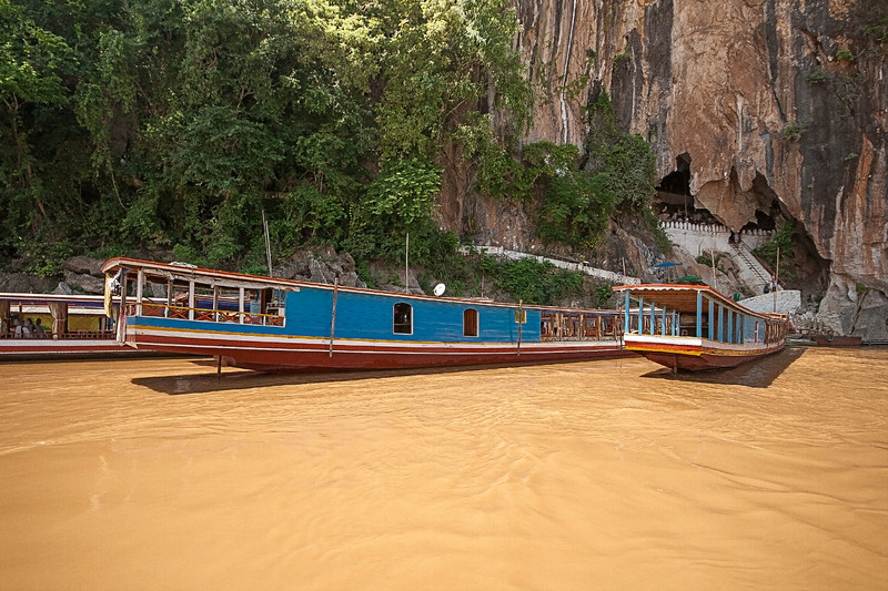 Boats On The Mekong River , Laos