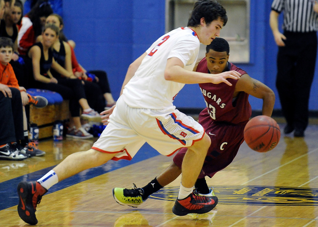 . GREENWOOD VILLAGE, CO. - FEBRUARY 6: Griffin Parr of Cherry Creek tries to shake the pesky defense by Cherokee Trail\'s Anthony Murray in the fourth quarter Wednesday night at Cherry Creek High School. (Photo by Steve Nehf, The Denver Post)