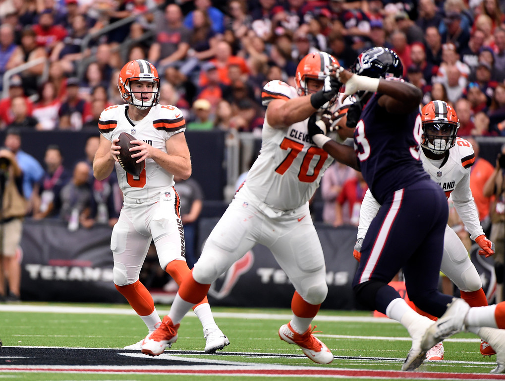 . Cleveland Browns quarterback Kevin Hogan (8) looks to throw a pass in the first half of an NFL football game against the Houston Texans on Sunday, Oct. 15, 2017, in Houston. (AP Photo/Eric Christian Smith)