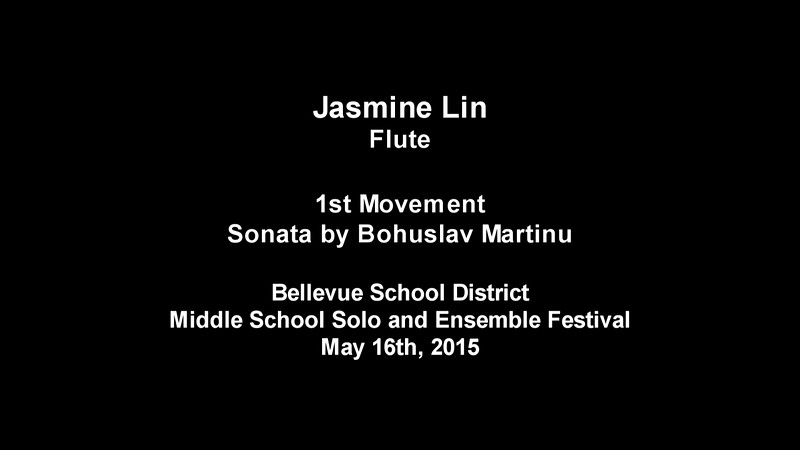 Jasmine Lin, 6th Grade, performing the 1st Movement of Sonata by B. Martinu
