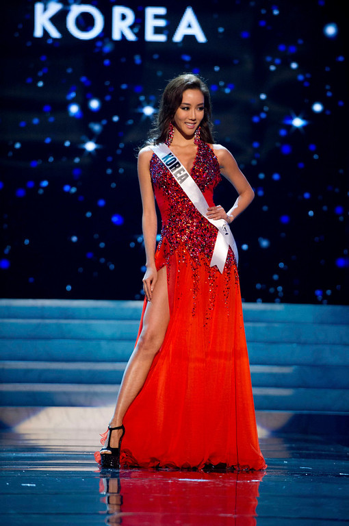 . Miss Korea 2012 Sung-hye Lee competes in an evening gown of her choice during the Evening Gown Competition of the 2012 Miss Universe Presentation Show in Las Vegas, Nevada, December 13, 2012. The Miss Universe 2012 pageant will be held on December 19 at the Planet Hollywood Resort and Casino in Las Vegas. REUTERS/Darren Decker/Miss Universe Organization L.P/Handout