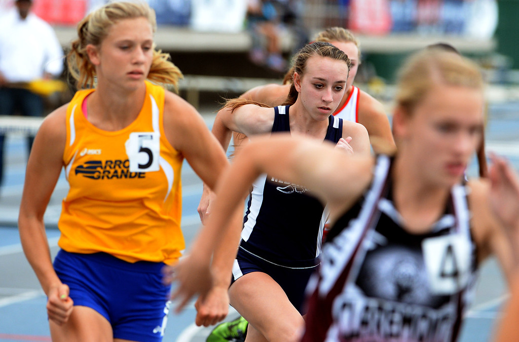 . Redlands\'s Claire Crowley, center, competes in the division 2 800 meters race during the CIF Southern Section track and final Championships at Cerritos College in Norwalk, Calif., Saturday, May 24, 2014.   (Keith Birmingham/Pasadena Star-News)
