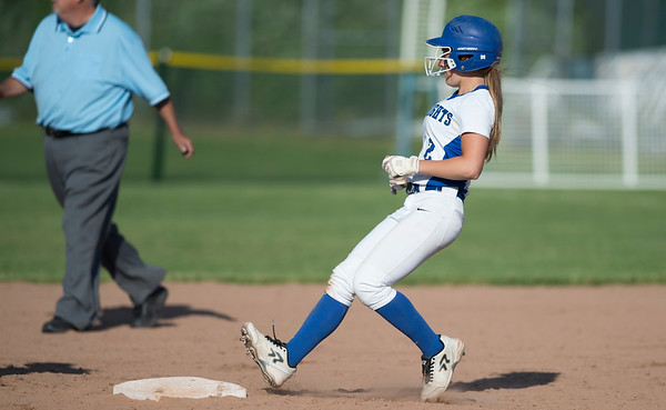 06/03/19 Wesley Bunnell | Staff Southington softball defeated Trumbull in a semifinal Class LL game at DeLuca Field in Stratford on Monday afternoon. Chrisala Marotto (2) runs safely into second base.