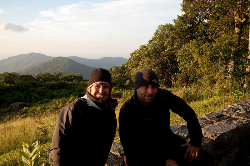 Linda and Joseph Rossbach -the instructor-on the Shenandoah National Park Instructional Photo Tour.  It was really cold this June morning in the mountains.