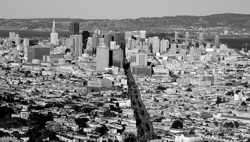 San Francisco looking down Market Street from the top of Twin Peaks - November 2005