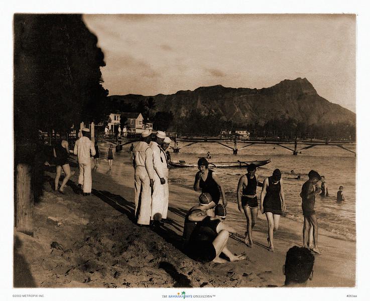 263: 'U.S. Navy Personnel Visiting Waikiki Beach' Photograph. Ca. 1933.