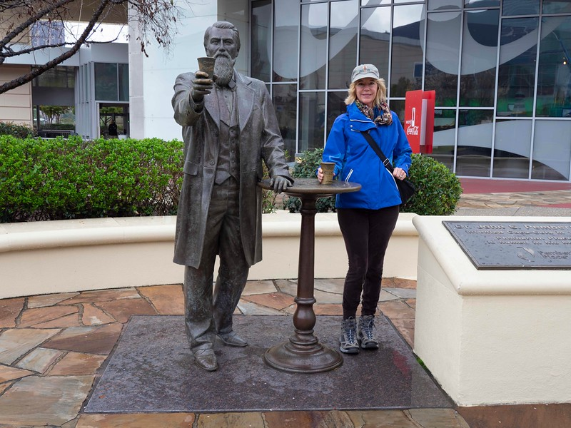 Julie with John Pemberton, the pharmacist who created Coca Cola