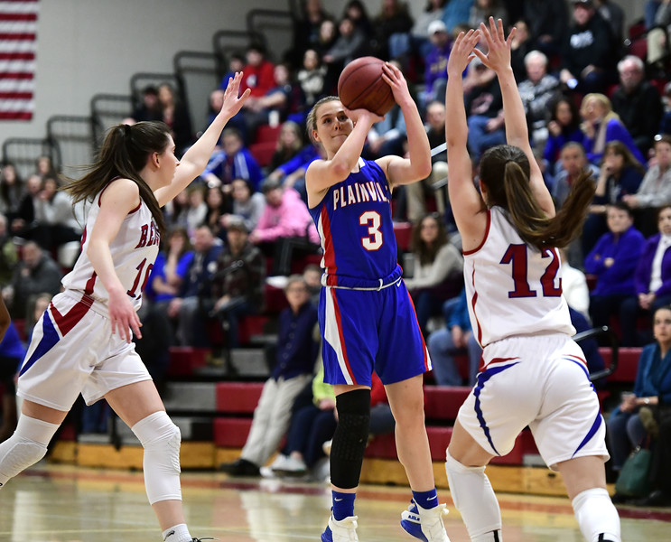 2/26/2019 Mike Orazzi | Staff Plainville's Caitlin Barker (3) during the CIAC 2019 State Girls Basketball Tournament with Berlin at Berlin High School Tuesday night.