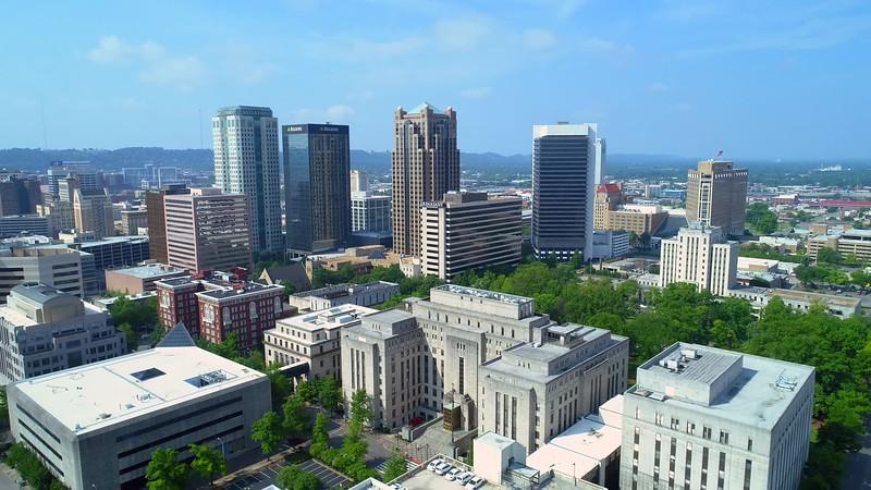 Aerial establishing shot Downtown Birmingham Alabama USA 4k 24p
