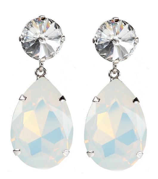 Perfect Drop Earrings / Crystal + White Opal
