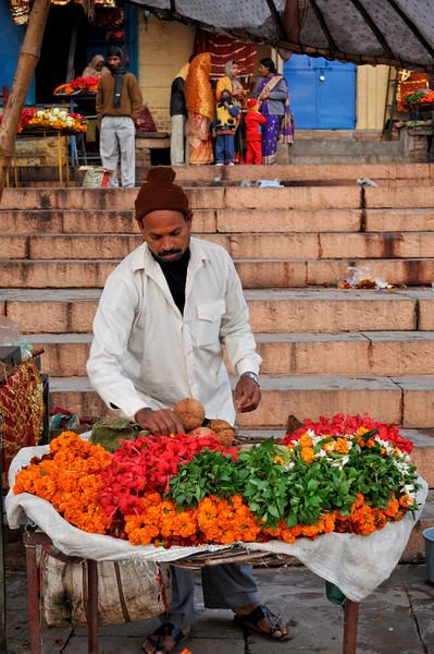 Seller of marigolds on the ghats in Varanasi.