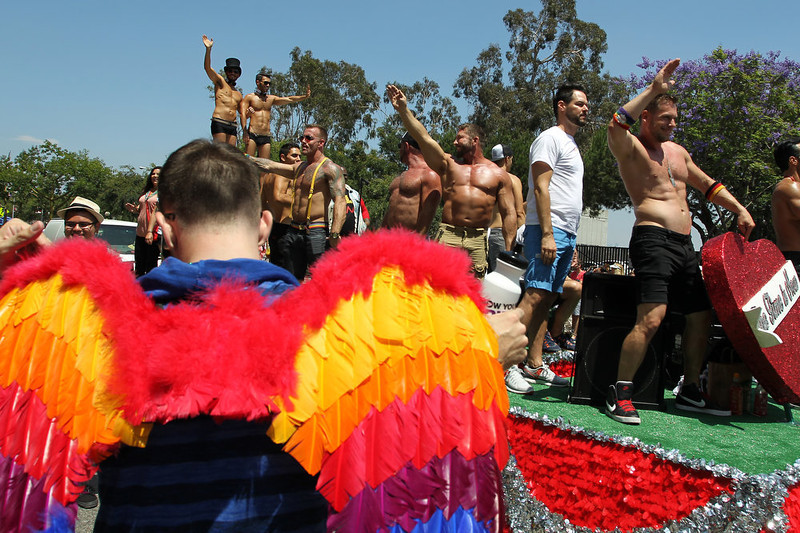 . A man wears rainbow wings at the 43rd L.A. Pride Parade on June 9, 2013 in West Hollywood, California. More than 400,000 people are expected to attend the parade in support of lesbian, gay, bisexual and transgender communities.  (Photo by David McNew/Getty Images)