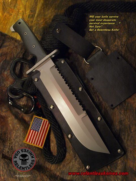Relentless Knives M1A 10.5 inch blade, Matte finish.