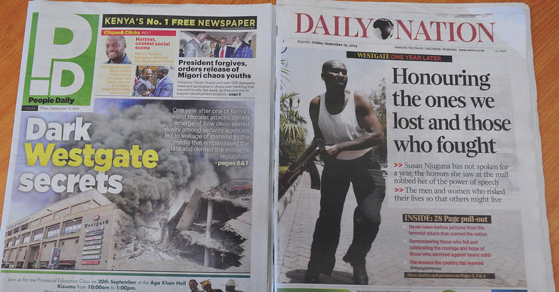 . Kenyan newspapers with headlines related to the Westgate mall terror attack are pictured on September 19, 2014 as Kenya commemorates the first anniversary since the terror attack that happened in the Nairobi\'s shopping mall. At least 67 people were killed and scores were injured on September 21, 2013 when gunmen from the Somali militant group al Shabaab attacked the shopping mall, spraying shoppers with bullets and holding parts of the building for four days.   SIMON MAINA/AFP/Getty Images