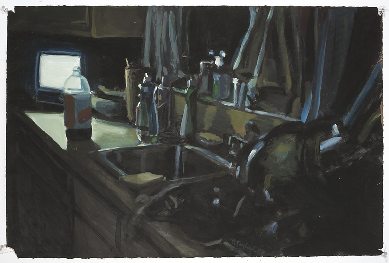 Night Countertop, acrylic on paper, 22 x 30 in, 1990
