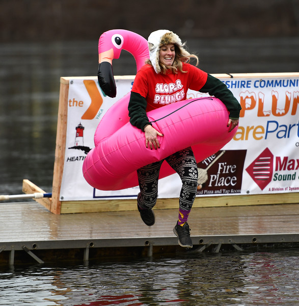 1/18/2020 Mike Orazzi | Staff Plunger Christine Gagnon during the Annual Camp Sloper Polar Plunge at Sloper Pond in Southington Saturday.